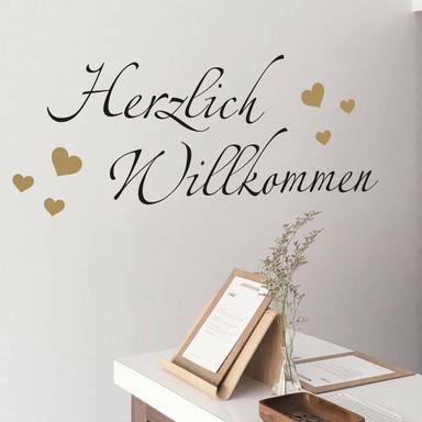 Wandtattoo Herzlich Willkommen 4 (2-farbig)
