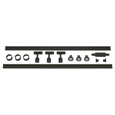 1-Phasen Schienensystem Aufbauschiene, Starter-Set, 3 Spots, schwarz, 2x 1m