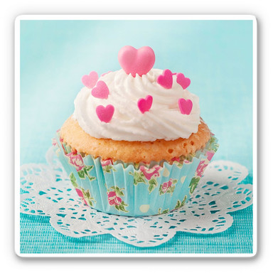 Glasbild Hearts on Cupcake
