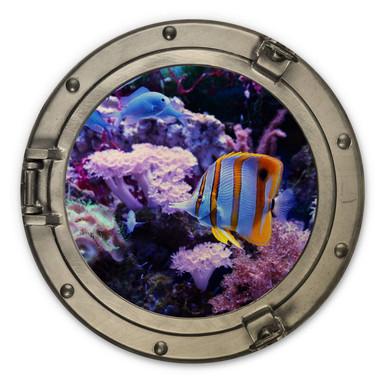 Holzbild 3D Optik - Bunte Unterwasserwelt Lila Korallen - Rund