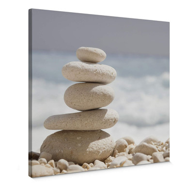 Leinwandbild Steine am Meer - Quadratisch
