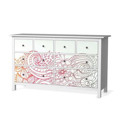 Möbelfolie IKEA Hemnes Kommode 8 Schubladen - Floral Doodle