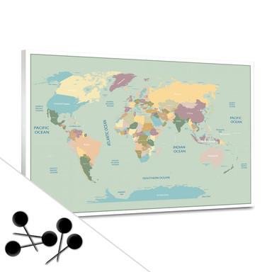 Pinwand Weltkarte Vintage inkl. 5 Pinnadeln
