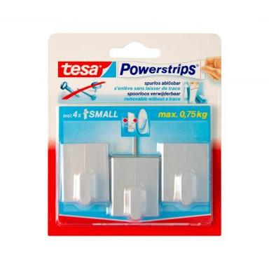 tesa Powerstrips® - Haken Rechteck chrom matt 3 Stk. - Bild 1