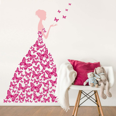 Wandsticker Lady with butterflies - pink