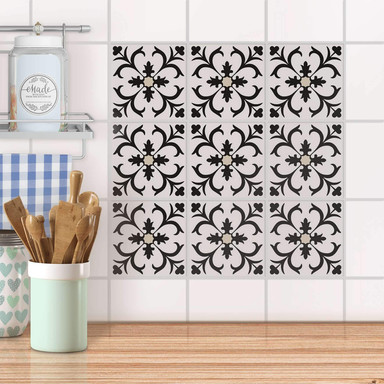 Fliesenaufkleber Set - Black Flower Pattern