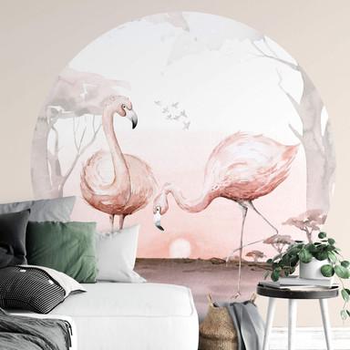 Fototapete Kvilis - Flamingos im Sonnenuntergang - Rund