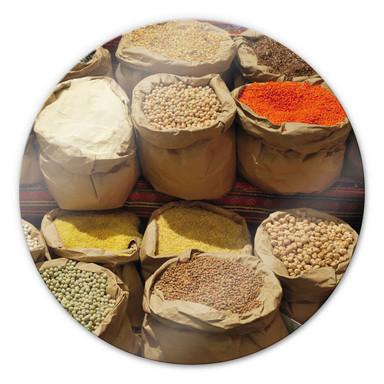 Glasbild Indischer Markt - rund