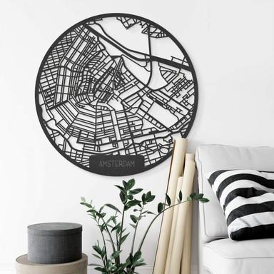 MDF - Holzdeko Stadtplan Amsterdam - Rund