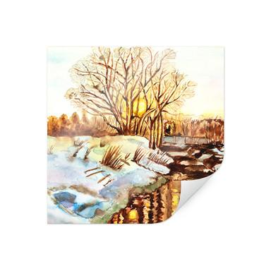 Poster Toetzke - Goldener Winter - quadratisch