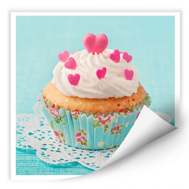 Wallprint Hearts on Cupcake