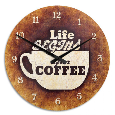 Wanduhr Life begins after Coffee 02
