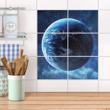 Fliesenfolie quer - Planet Blue