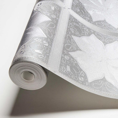 Karl Lagerfeld Wallpaper Vliestapete Kaleidoscope grau, metallic