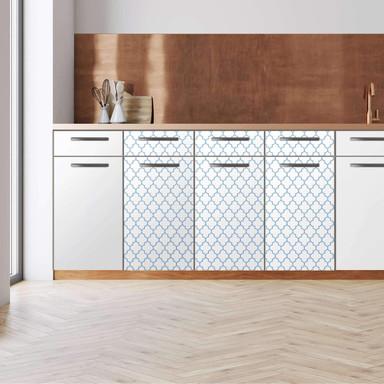 Küchenfolie - Unterschrank 120cm Breite - Retro Pattern - Blau