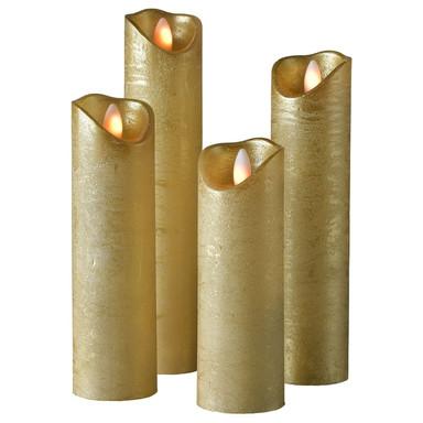 LED Kerze Shine Wachs, gefrostet in Gold