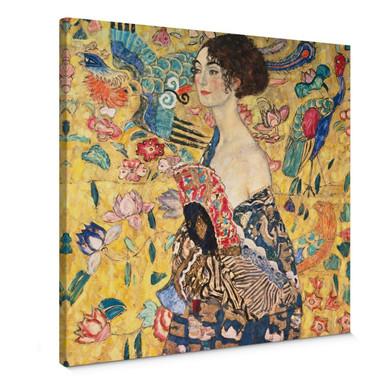 Leinwandbild Klimt - Dame mit Fächer