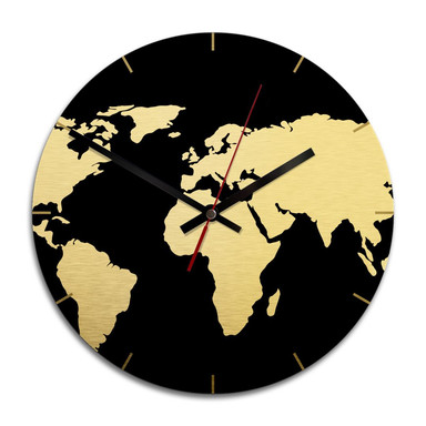 Wanduhr Alu-Dibond-Goldeffekt - Weltkarte negativ - Ø 28cm - Bild 1