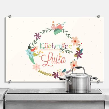 Spritzschutz Wunschtext & Wandbild - Küchenfee