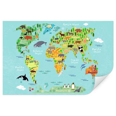 Wallprint Tierische Kinder Weltkarte