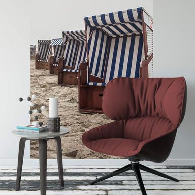 Fototapete Strandkorb auf Norderney - 144x260cm - Bild 1