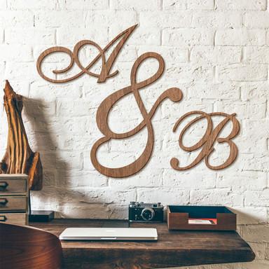 Holzbuchstaben Einzelbuchstaben verschnörkelt - Mahagoni