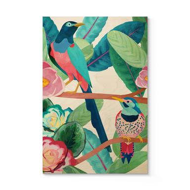 Holzposter Goed Blauw - Vögel im Frühling