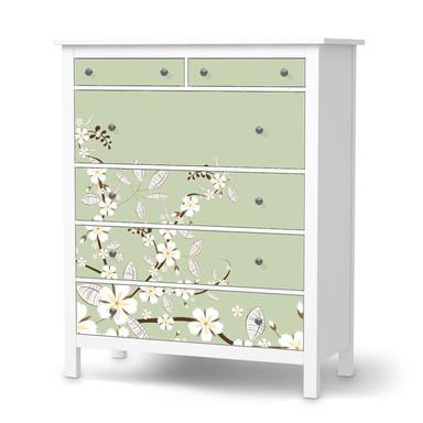 Klebefolie IKEA Hemnes Kommode 6 Schubladen - White Blossoms- Bild 1