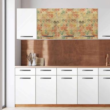 Klebefolie - Wandschrank 120cm Breite - 3D Retro Pattern