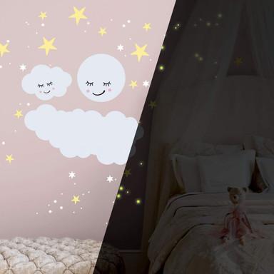 Wandtattoo Sternenhimmel mit Wolke und Mond schlafend & Leuchtsticker