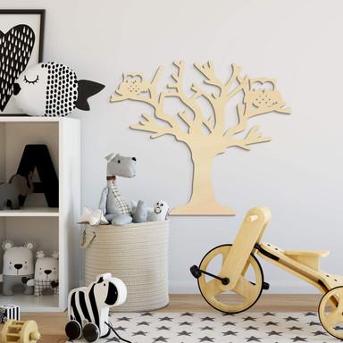 Holzkunst Pappel - Baum mit Eulen