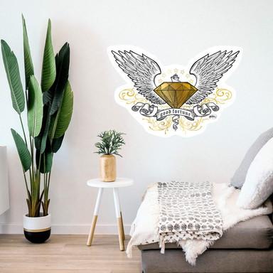 Wandsticker LA Ink Diamant mit Flügeln
