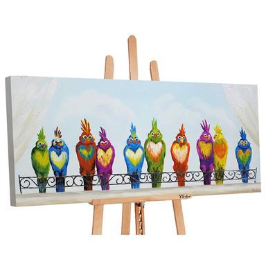 Acryl Gemälde handgemalt Lustige Vögel 140x70cm - Bild 1