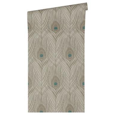 Architects Paper Vliestapete Absolutely Chic Tapete mit Pfauen Feder blau, braun, grau