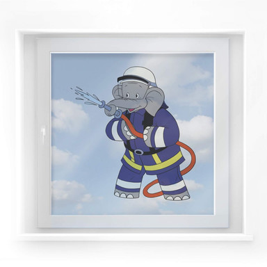 Fensterbild Benjamin Blümchen als Feuerwehrmann