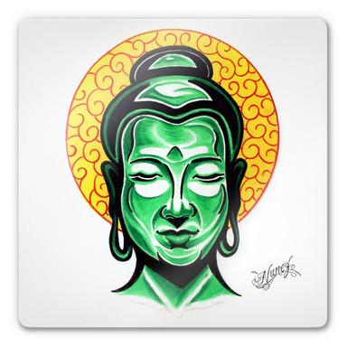Glasbild Miami Ink Buddha Kopf