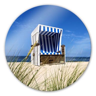 Glasbild Strandkorb - rund