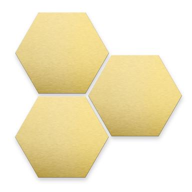 Hexagon - Alu-Dibond-Goldeffekt (3er Set)