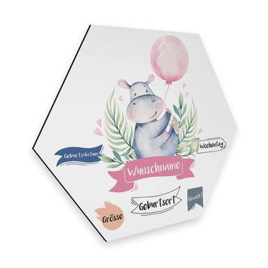Hexagon - Alu-Dibond Kvilis - Flusspferd rosa Luftballon & Wunschtext