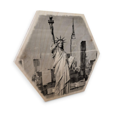 Hexagon - Holz Birke-Furnier - Statue of Liberty - Shabby