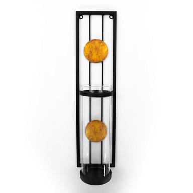 Metall Wand Teelichthalter modern mit Glasschutz - 10x41cm - Bild 1