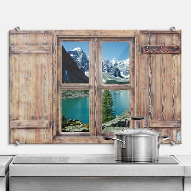Spritzschutz 3D Holzfenster - Bergsee Idylle