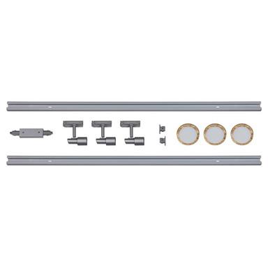 famlights | 1-Phasen Schienensystem-Set in Silber und Gold 2 Meter inkl. 3 Spots inkl. Leuchtmittel