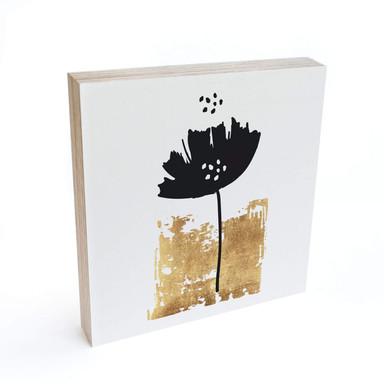 Holzbild zum Hinstellen - Kubistika - Schwarze Blume - 15x15cm