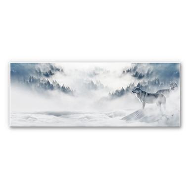 Wandbild - Wölfe im Schnee - Panorama