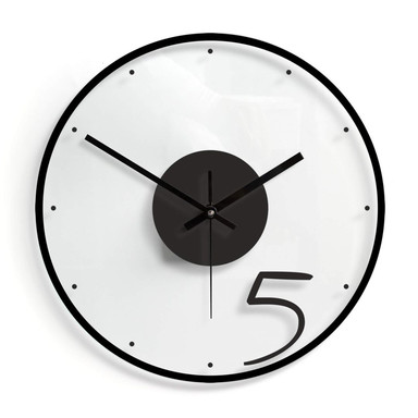 Wanduhr aus Glas - Five 02 - Ø30cm