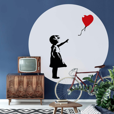 Fototapete Banksy - Girl with the red balloon - Rund