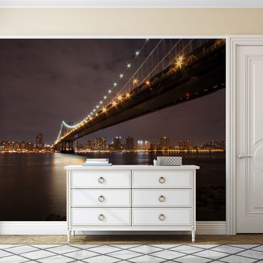 Fototapete Manhattan Bridge at Night - 336x260cm - Bild 1
