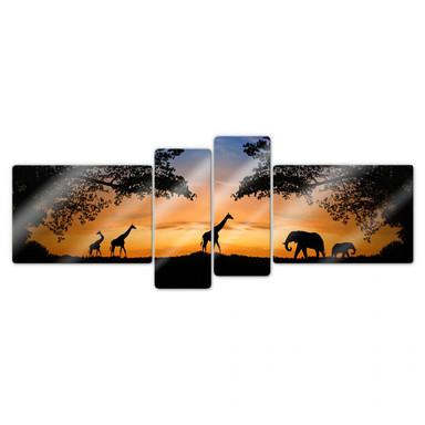 Glasbild African Sunset (4-teilig)