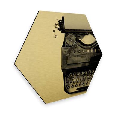 Hexagon - Alu-Dibond Goldeffekt - Typewriter